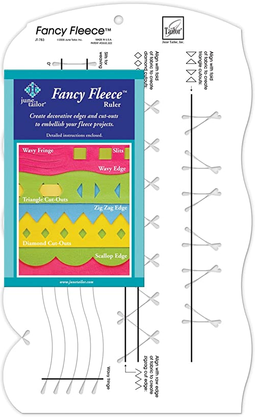 June Tailor 9-1/2-Inch-by-16-Inch Fancy Fleece Slotted Ruler