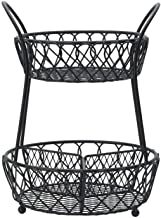 Gourmet Basics by Mikasa Loop and Lattice 2 Tier Divided Round Basket, Black