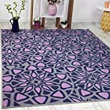 Antep Rugs Casa Azul Collection Geometric Contemporary Non-Skid (Non-Slip) Low Profile Pile Rubber Backing Indoor Area Rug 5x7 (Lilac/Grey, 4'11' x 6'6')