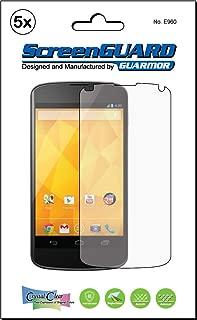 5x Google Nexus 4 LG Optimus Nexus 4 E960 Premium Clear LCD Screen Protector Kit, Exact fit, no cutting. (5 pieces by GUARMOR)