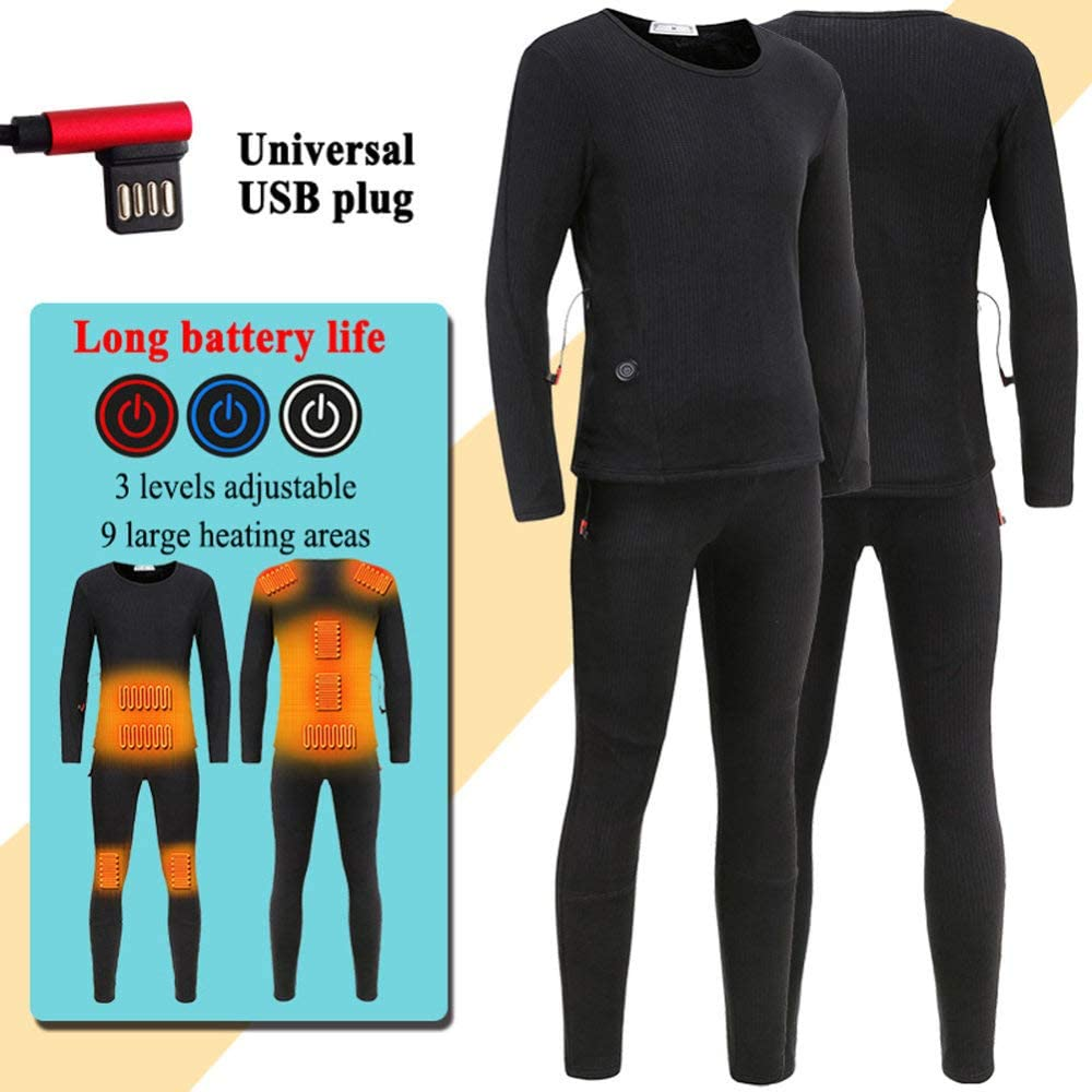 USB Electric Heated Thermal Underwear Set Long Sleeve Top Johns