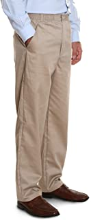 Men's Elastic Waist Casual Pants Twill Pants with Zipper and Button