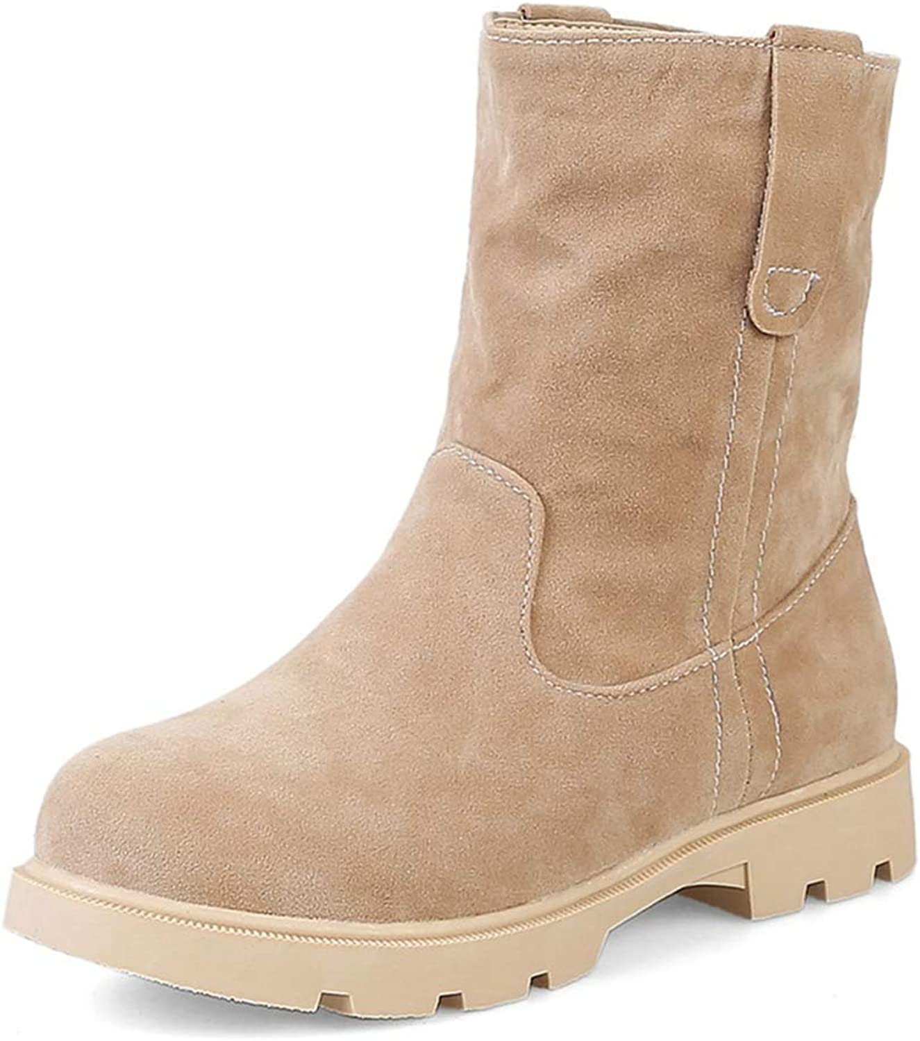 Women's Flat Cowboy Martin Ankle Boots Casual Round Toe Slip-On Bootie Comfy Daliy Walking Short Boots