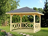 Pavillon Sorbus S12 naturbelassen - 120 x 120 mm Pfostenstärke, Grundfläche: 9 m², Zeltdach