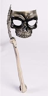 Forum Novelties Skeleton Mask w/Bone Handle Skull Venetian Mardi Gras Masquerade Prop Halloween