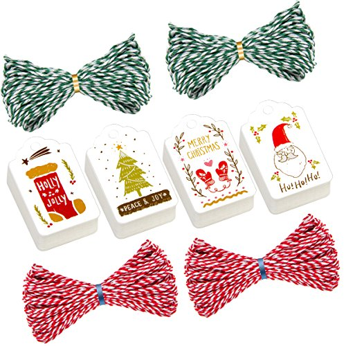 200 Pieces Christmas Hanging Tags- Hang Labels in 4 Designs with 2 Colors Strings for Xmas Holiday Wrapping Decorate Party Favor