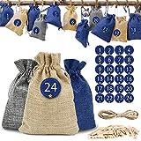 O-Kinee Calendrier de l'Avent, 24 Sachets en Tissu à Remplir, Sacs Cadeau avec Etiquettes Numéro et 24 Pinces en Bois, Sachets en Jute pour DIY Décoration de 2019 Noël (Bleu)