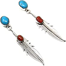 Turquoise & Coral Sterling Silver Feather Earrings by Navajo Artist Roger Pino 2