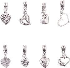 PH PandaHall 80pcs 8 Styles Tibetan Alloy European Large Hole Dangle Beads Heart Pendants Charms for DIY European Bracelets Choker Making