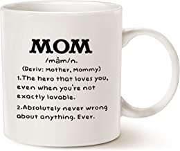 MAUAG Mother's Day Gifts Mom Definition Funny Coffee Mug, Christmas or Birthday Gift Idea for Mom Cup White, 11 Oz