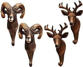 IMIKEYA 4Pcs Animal Head Wall Hooks Deer Sheep Coat Hook Wall Mounted Hat Towel Key Storage Hanger for Home Living Room Be...