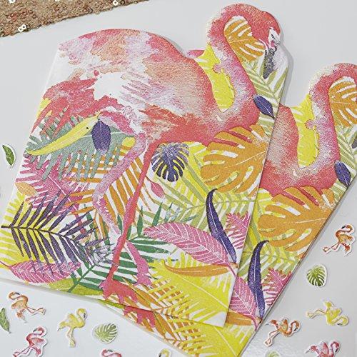 Ginger Ray Lot de 20 serviettes en papier en forme de flamant rose pour fêtes à thème barbecue hawaïen, multicolore