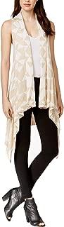 Women's Geometric-Print Asymmetrical Vest (XS/S, Warm Beige)