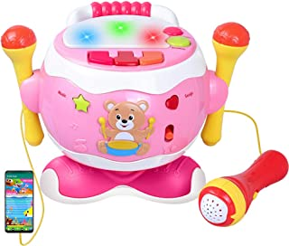 Sponsored Ad - Rabing Baby Musical Toy Drum, 5-in-1 Toddler Musical Instruments Toy with Microphone & Lights, Kids Drum Se...