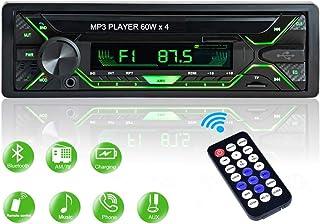 Aigoss Radio Coche Autoradio Bluetooth 1 DIN 60W x 4 FM Estéreo de Manos Libres Llamadas Apoyo de Reproductor MP3 Luces de 5 Colores Archivo y Control Remoto Inalámbrico