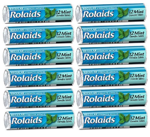 Rolaids Mint Flavor Heartburn Acid Indigestion Fast Acting Rapid Relief  12 Rolls of 12 Antacid Chewable Tablets 144 Tablets Total
