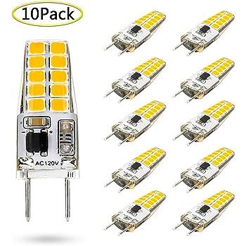 Renewed G8 LED Bulb Dimmable 3W T4 G8 Bulb Equivalent to G8 Halogen Bulb 20W-25W Bi-Pin G8 Base AC 110V//120V//130V 10 Pack Mini G8 Light Bulb Warm White 3000K