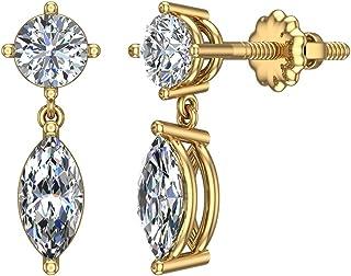 Mia Diamonds 14k Yellow Gold 4mm Round May//Emerald Leverback Earrings