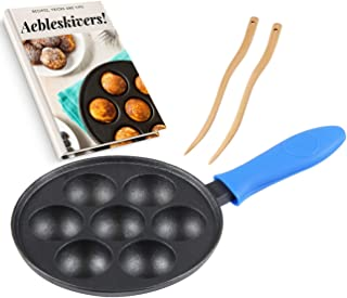Cast Iron Aebleskiver Pan for Danish Stuffed Pancake Balls by Upstreet (Blue)