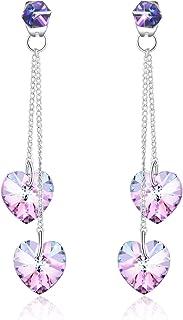 PLATO H Tassels Double Heart Drop Dangle Stud Earrings with Swarovski Crystal, Fashion Jewelry Gift Earrings, Love Heart E...