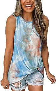 MAXIMGR Women's Tie-dye Tank Tops Casual Summer Sleeveless T-Shirt Loose Ladies Tunic Tanks Vest Tops