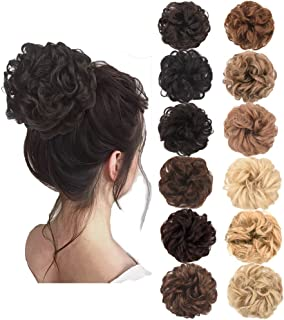 AQINBEL Messy Bun Hair Piece 2PCS/Package Hair Scrunchies Extensions Curly Wavy Messy Synthetic Chignon Updo for Women Ladies Girls Hairpiece (Color:2#-Natural Black)