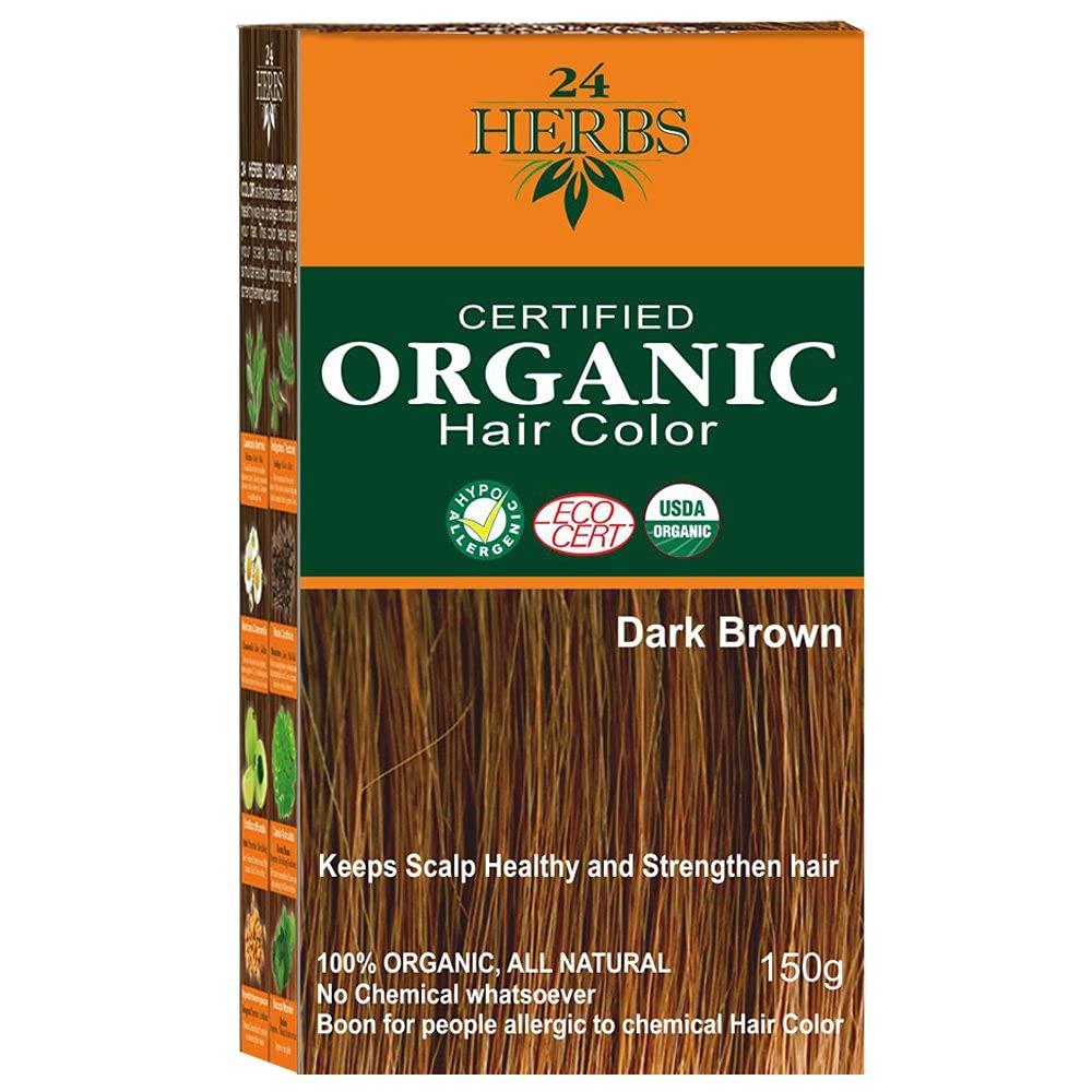 Lendom Genuine 24 Herbs In a popularity 100% Organic Hair Color-150g Dark brown