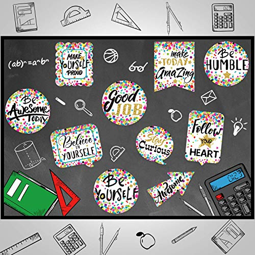 Confetti Positive Sayings Accents, Delightful Colors Motivation Cards for Bulletin Board Classroom Decoration, Office, Home Nursery Decoration (20 Pieces)
