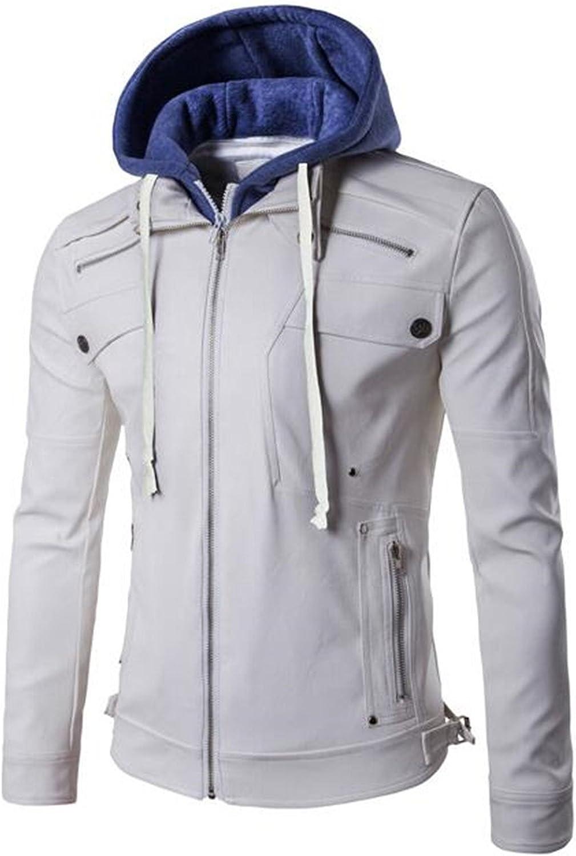 1e9af6e0437c1 Jinmen Men's Premium Pu Faux Leather Moto Biker Jackets Jackets Jackets  with Detachable Hood da6b0d