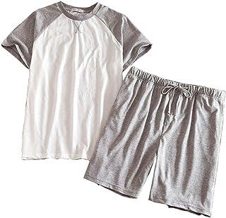 パジャマ メンズ 夏用 半袖 ハールパンツ 寝巻き Tタイプ 部屋着 ルームウェア バイカラー 快適 涼しい 便利服 ナイトウェア 寝間着 トップス ショートパンツ 上下セット