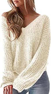 Women's Casual V Neck Criss Cross Backless Long Batwing Sleeve Loose Knitted Pullovers Sweater
