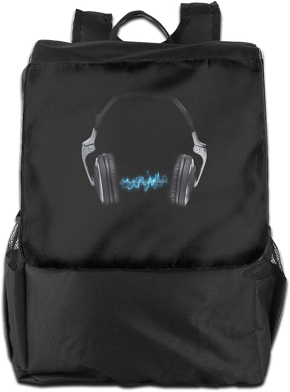 Headphone Waves Printed Boys Backpack Lightweight Casual Shoulder Bag School Bookbags