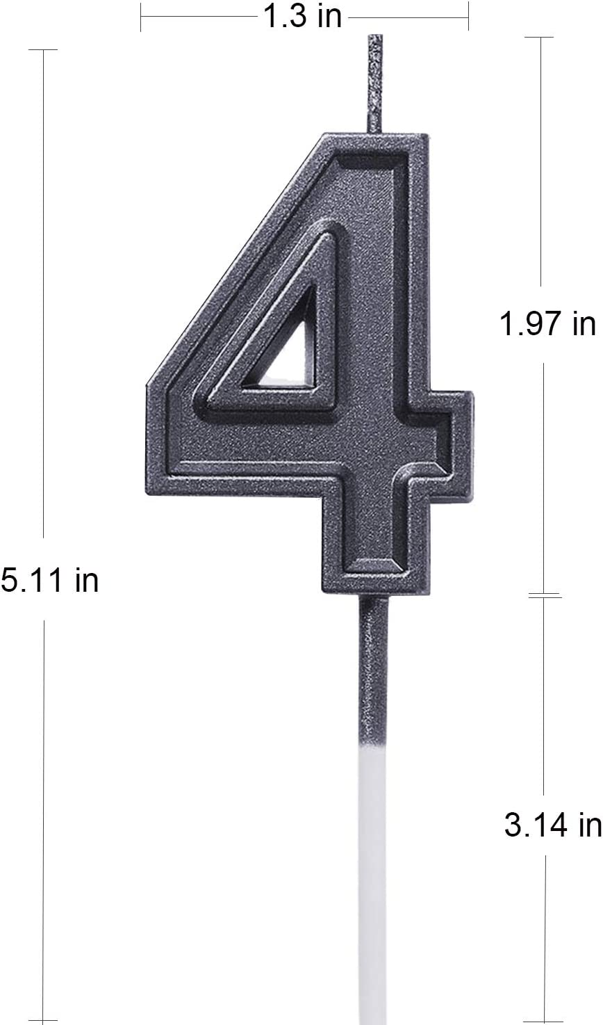 Black 0 Gesentur Happy Birthday Candles Numbers Cake Topper 3D Design Diamond Candles for Any Decorations