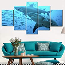 Living Room Wall Decor Shark with Small Fish in the Deep Wate Pictures Blue Wall Art 5 Panels Printed on Canvas Paintings Seascape Artwork for Home Stretched and Framed Ready to Hang(60''Wx32''H)