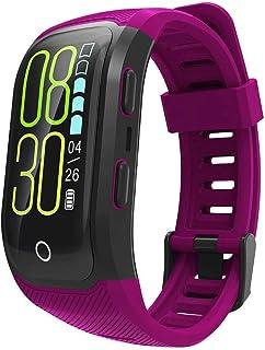 XHZNDZ Color Screen Smart Bracelet - GPS Outdoor Sports Swimming Monitoring Fitness Tracker IP68 Waterproof Health Bracelet (Color : Purple)