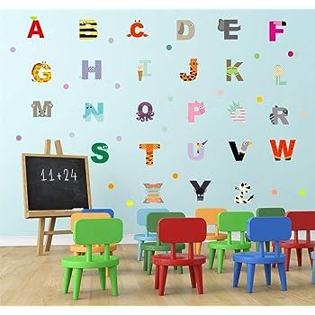 Preschool and Kindergarten Kids Educational Classroom Wall Art Decals Pulse Vinyl Set of Abcs Alphabet Letters Educational Vinyl Wall Art Stickers Unisex Childrens Bedroom Decals 3 x 3 Each Letter
