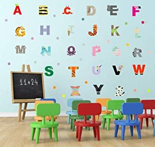 IARTTOP Animal Alphabet Wall Decal, Educational ABC Wall Sticker for Kids Bedroom Decoration, Cute Letter Nursery Classroom Wall Art
