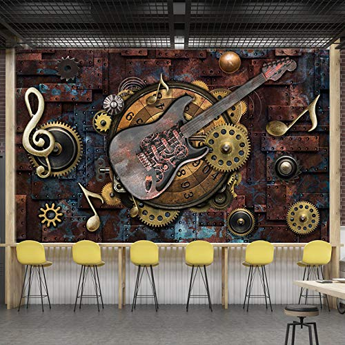Papel Tapiz Mural 3D Personalizado,Retro Metal Gears Musical Notas Guitarra, 3D Estereoscópico Hd No Tejido Gran Mural Dormitorio Sala De Estar Sala De Fondo Home Decor Wallpaper, 200Cm(H)×300Cm(W)