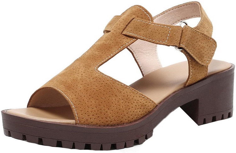 WeiPoot Women's Solid Soft Material Kitten-Heels Hook Loop Open-Toe Sandals