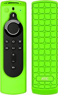 リモコンカバー ATiC 5.6インチ 新登場 Fire TV Stick 4K専用リモコンカバー シリコン製 耐衝撃 防水防塵 Alexa対応音声認識リモコン用保護カバー Fluorescent Green