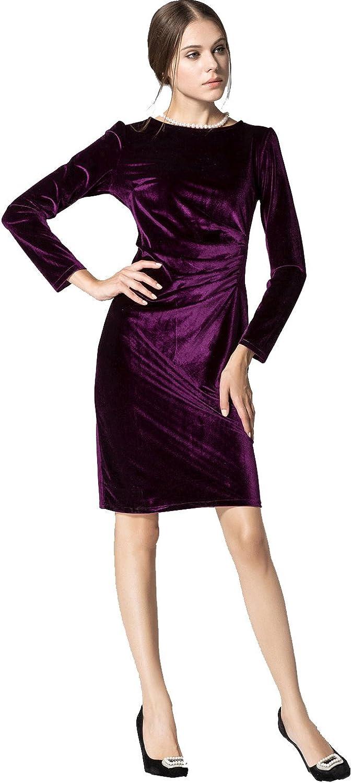 Unomatch Women's Long Sleeved Roundneck Slim Velvet Pleated Winter Dress Purple