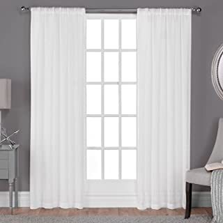 Exclusive Home Curtains Belgian Sheer Rod Pocket Top Panel Pair, Winter White, 50x108, 2 Piece
