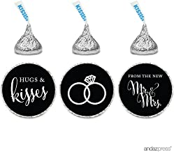 Andaz Press Chocolate Drop Labels Stickers, Wedding Hugs & Kisses from The New Mr. & Mrs, Black, 216-Pack, for Bridal Shower Engagement Hershey's Kisses Party Favors Decor