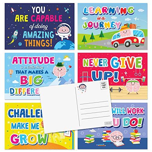 Sweetzer & Orange Motivational Postcards Pack (60 Post Cards) 4x6 Postcards for Kids. Growth Mindset Affirmation Cards, Mindfulness Cards, Inspiration Cards and Encouragement Cards. Blank Note Cards