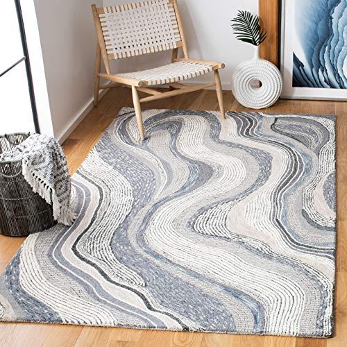 Safavieh Soho Collection SOH879F Handmade Premium Wool Area Rug, 8' x 10', Grey / Ivory