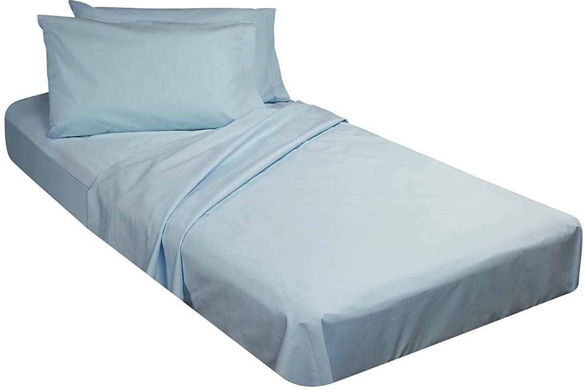 Cotton/Poly Fitted Cot Sheet - Blue