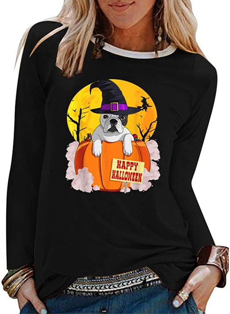 POTO Pullover Shirts for Womens Halloween Printed T-shirts Long Sleeves Sweatshirts Crewneck Blouses Tops