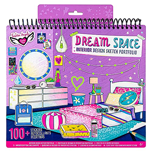 Fashion Angels Interior Design Sketch Portfolio 11510 Sketch Book for Beginners, Sketch Pad with Stencils and Stickers For Kids 6 and Up