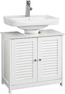 SoBuy FRG237-II-W Meuble sous-Lavabo Meuble de Salle de Bain Vasque Housse Colonne lavabo - 2 Portes et 2 étages à l'intér...