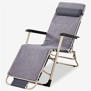 YUHT Grey Recliner Sun Lounger Verstellbarer Stuhl 178 * 60 * 30cm Gartenmöbel Klappbett für den Strandpool Patio im Freien Garten Camping Füße Stahl Quadrate c2014 (Größe: Mit Kissen)